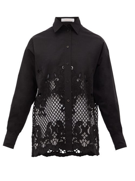 See By Chloé See By Chloé - Floral-embroidered Cotton-poplin Shirt - Womens - Black