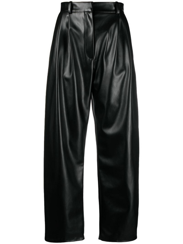 A.W.A.K.E. Mode faux leather wide leg trousers in black