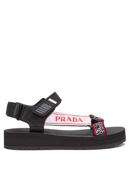 Prada - Multi Strap Rubber Sandals - Womens - Black Red