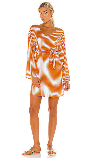 Seafolly Stripe Long Sleeve Cover Up Dress in Yellow