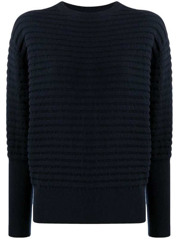 Colombo texture rib-trimmed cashmere jumper in blue
