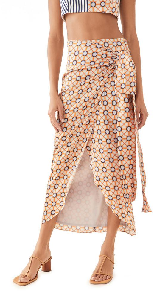 Silvia Tcherassi Bonnan Skirt in navy / orange