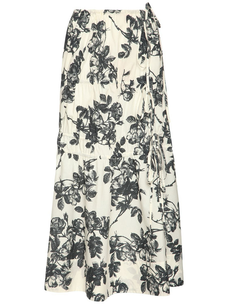 BROCK COLLECTION Floral Print Cotton Poplin Midi Skirt in navy / ivory