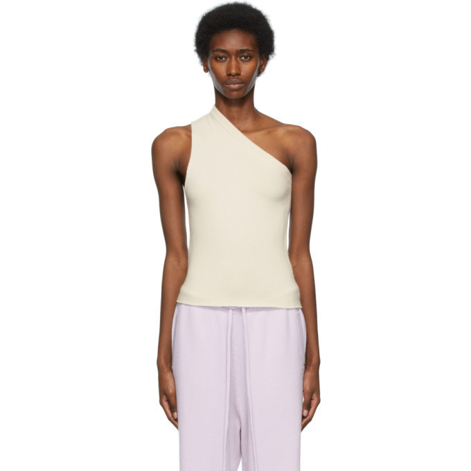 extreme cashmere Off-White N°108 Asymmetric Tank Top in cream