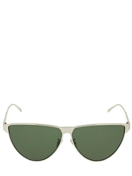 BOTTEGA VENETA Bv1070s Metal Aviator Sunglasses in green / silver