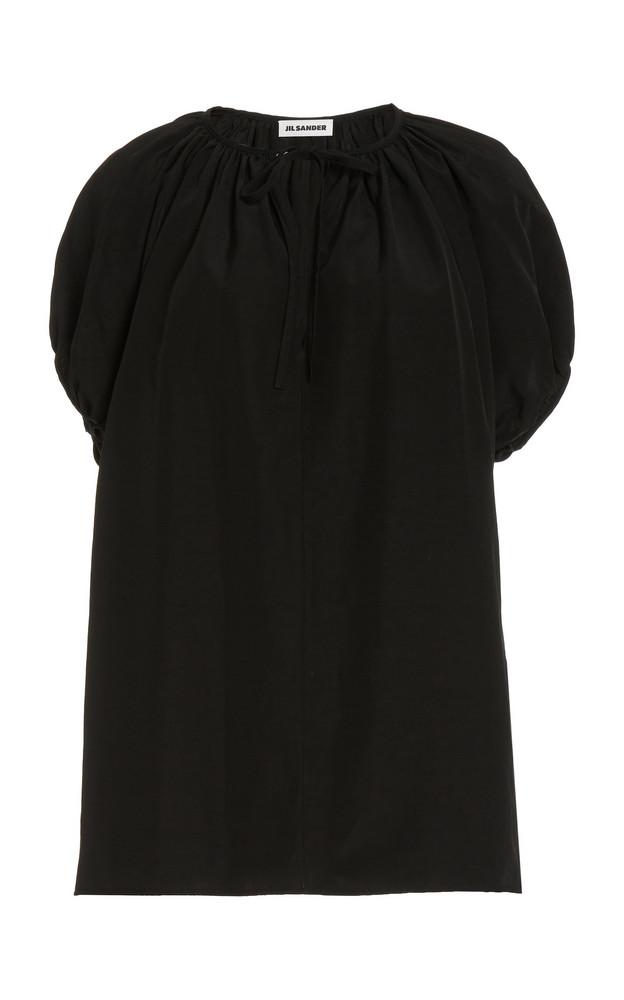 Jil Sander Ninette Tie-Front Linen-Blend Top in black