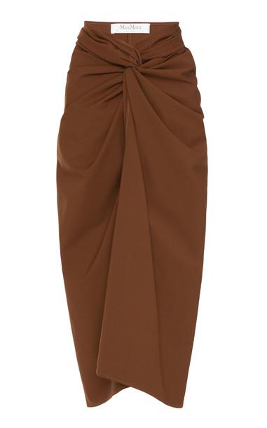 Max Mara Tacito Knotted Cotton-Crepe Midi Skirt in brown