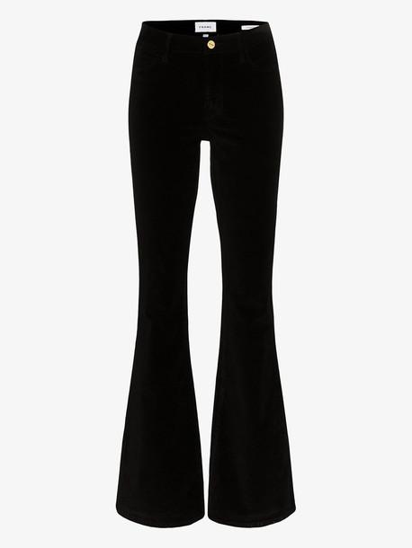 FRAME Le High flare velvet jeans in black