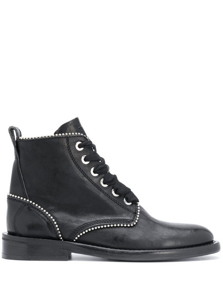 Zadig&Voltaire studded lace-up leather boots in black