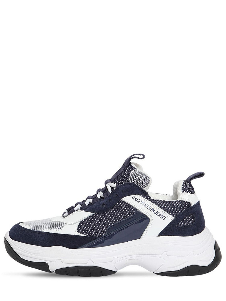 CALVIN KLEIN JEANS 50mm Maya Mesh & Leather Sneakers in navy / white