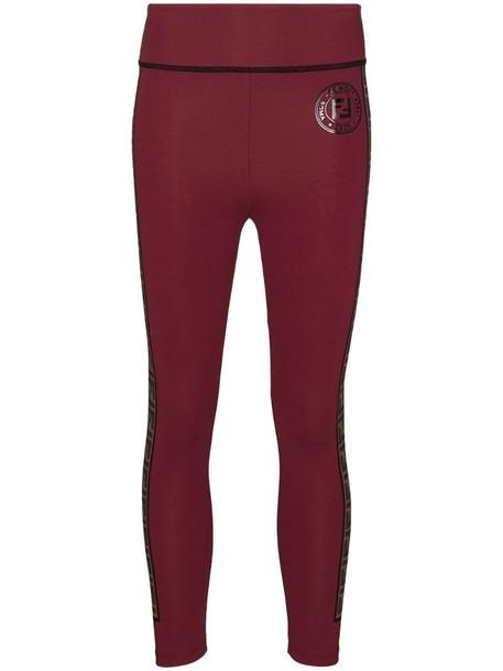 Fendi Fendirama performance leggings in red