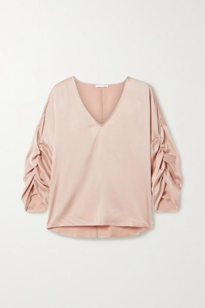 Skin - Gathered Washed Stretch-silk Satin Top - Pink