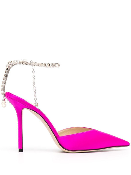 Jimmy Choo crystal-embellished satin pumps in pink