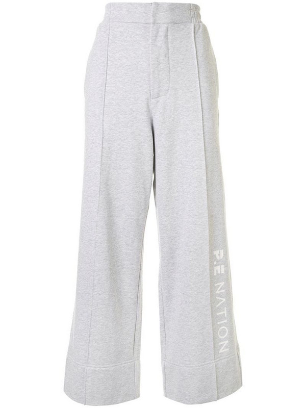 P.E Nation Aerial Drop side stripe track pants in grey