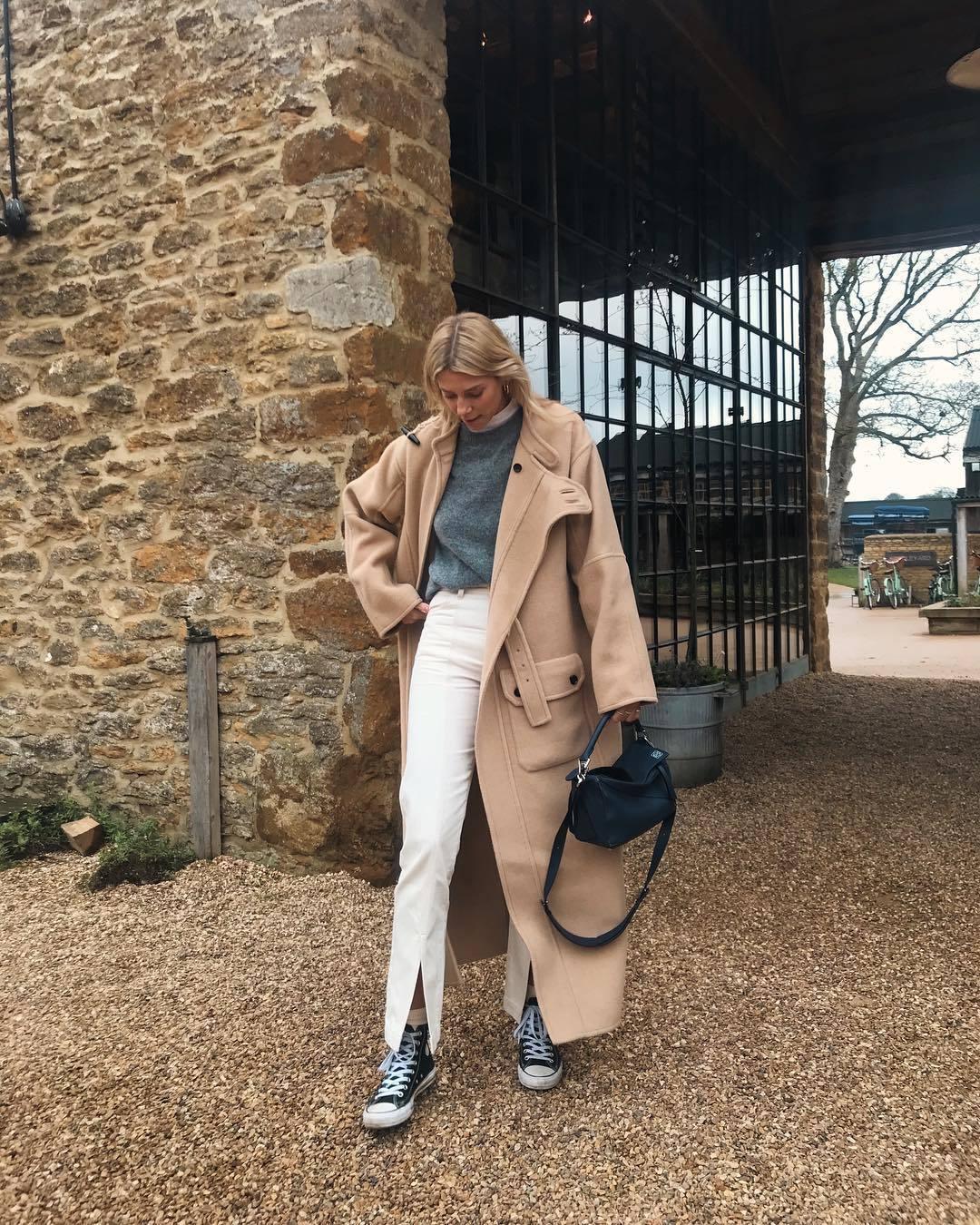 coat wool coat long coat converse white pants knitted sweater black bag shoulder bag white turtleneck top