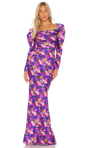 GIUSEPPE DI MORABITO Printed Silk Gown in Pink,Purple in fuchsia
