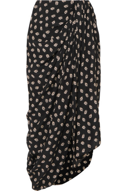 Isabel Marant - Candice Draped Floral-print Silk-crepe Midi Skirt - Black