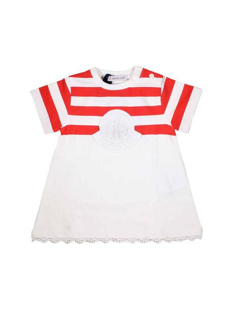 Moncler White Striped Baby Dress