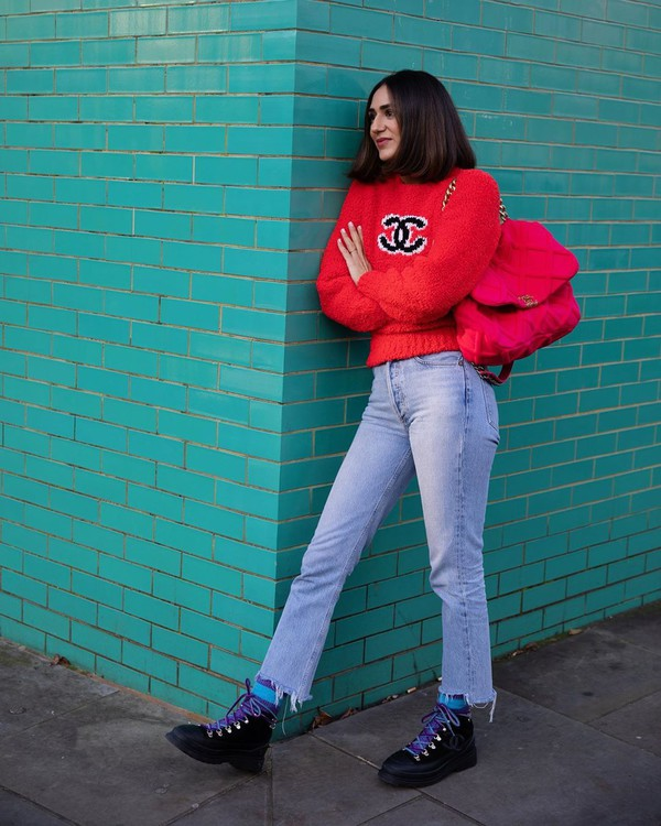 sweater red sweater chanel ankle boots black boots black bag