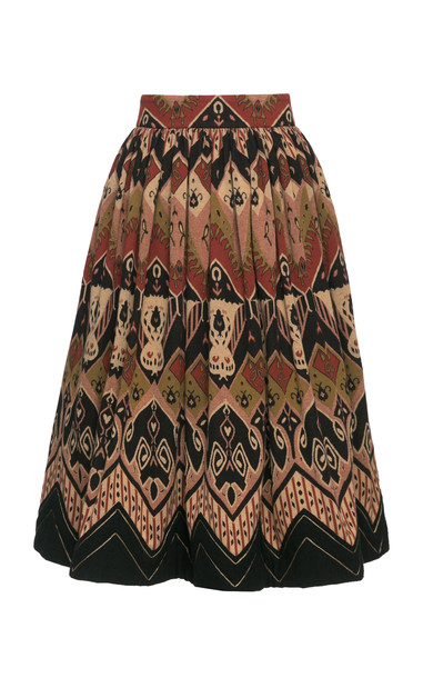 Lena Hoschek Nevada Pleated Printed Cotton Skirt Size: S in print