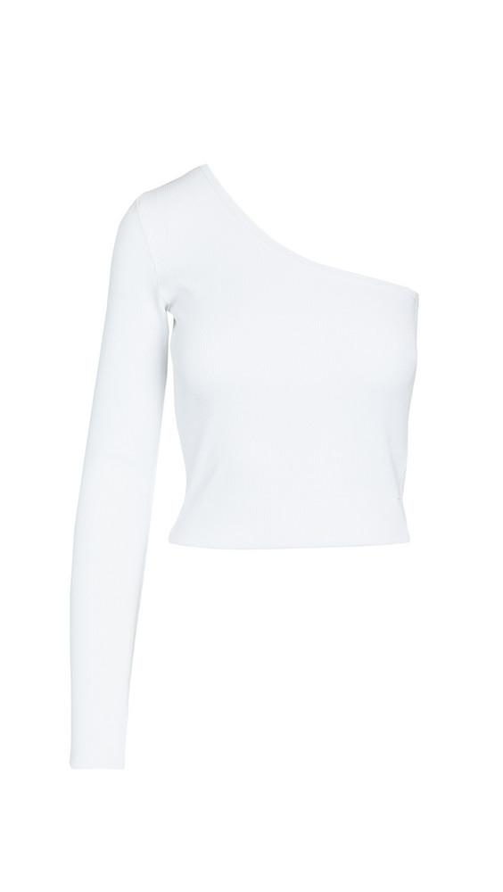 Bassike Rib One Shoulder Crop Top in white