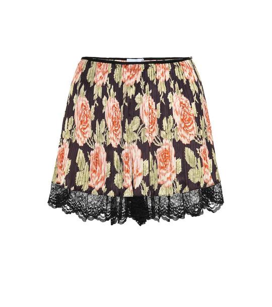 Paco Rabanne Floral lace-trimmed plissé shorts in black