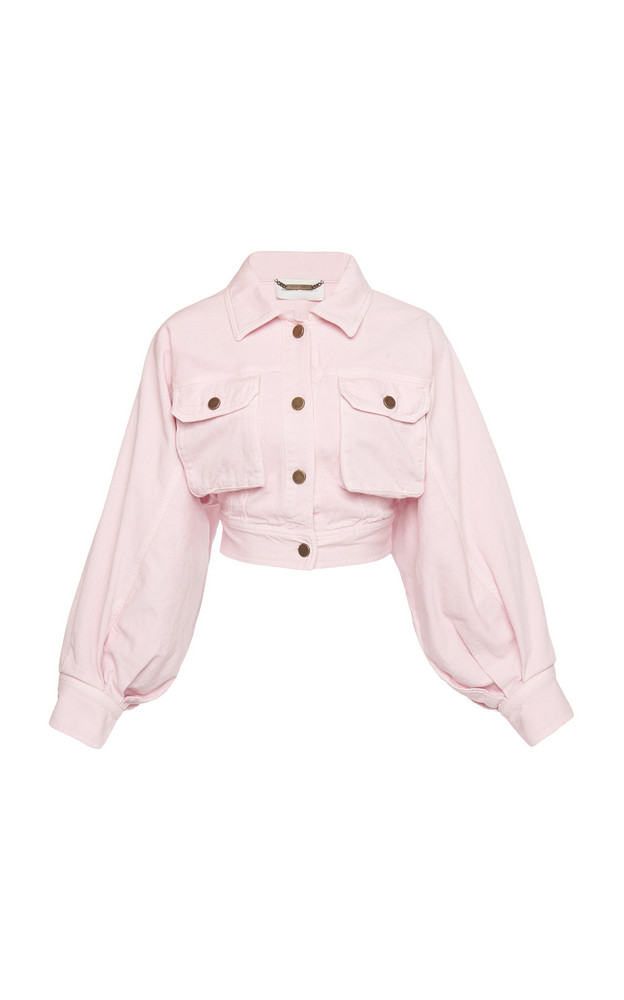 Alberta Ferretti Balloon Sleeve Cropped Denim Jacket in pink