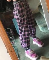pants,plaid pants,pink,punk