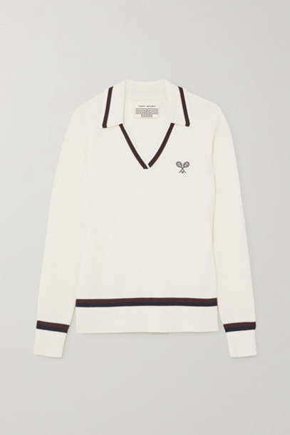 Tory Sport - Embroidered Ribbed Merino Wool Sweater - White