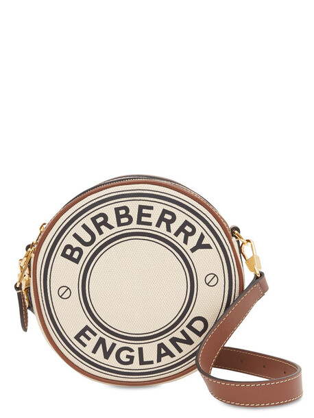 BURBERRY Louise Round Logo Canvas & Leather Bag in natural
