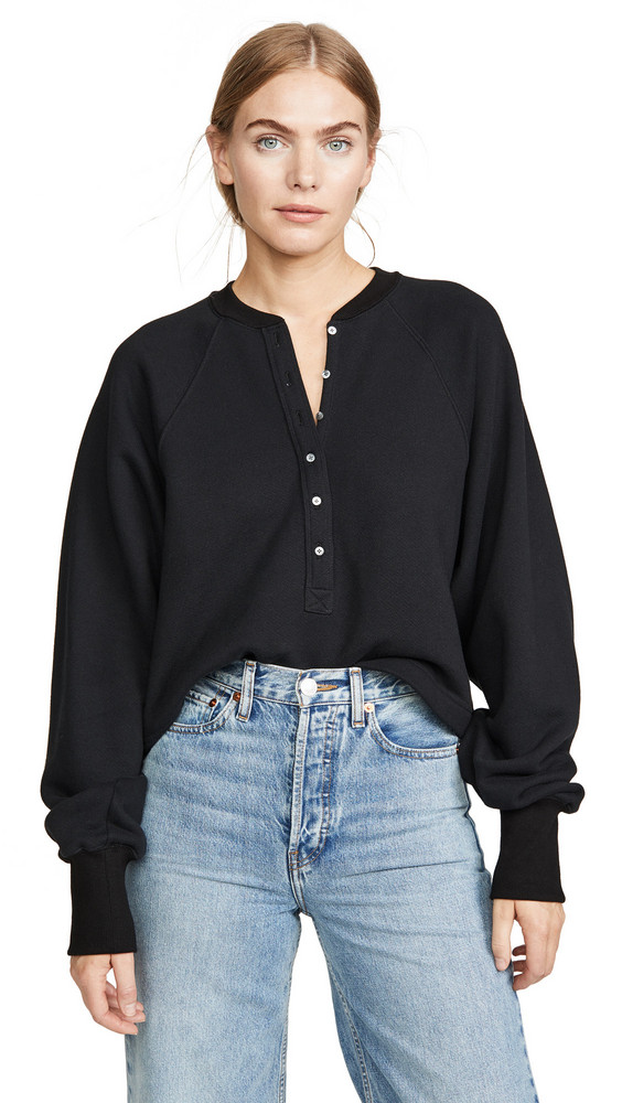Marissa Webb So Uptight Plunge Henley in black