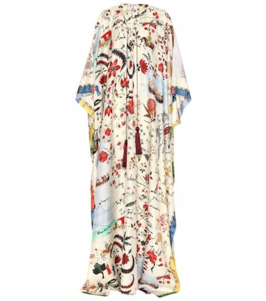 Oscar de la Renta Printed silk twill kaftan in white