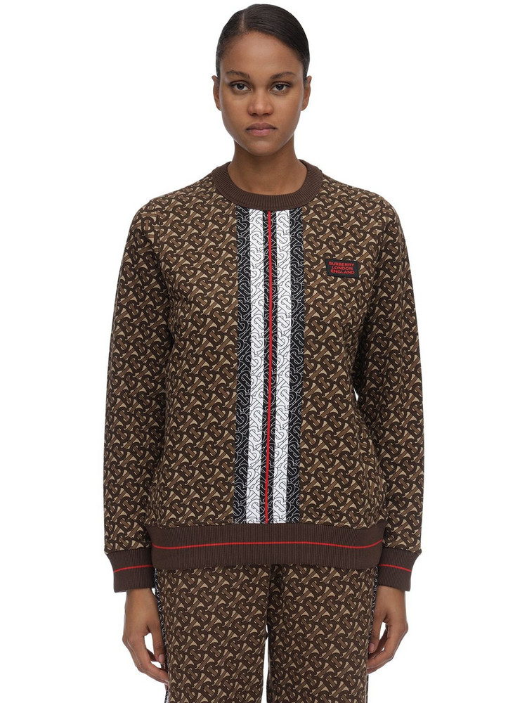 BURBERRY Tb Monogram Cotton Jersey Sweater in brown