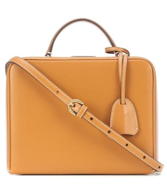 Mark Cross Grace Small Box shoulder bag in beige / beige