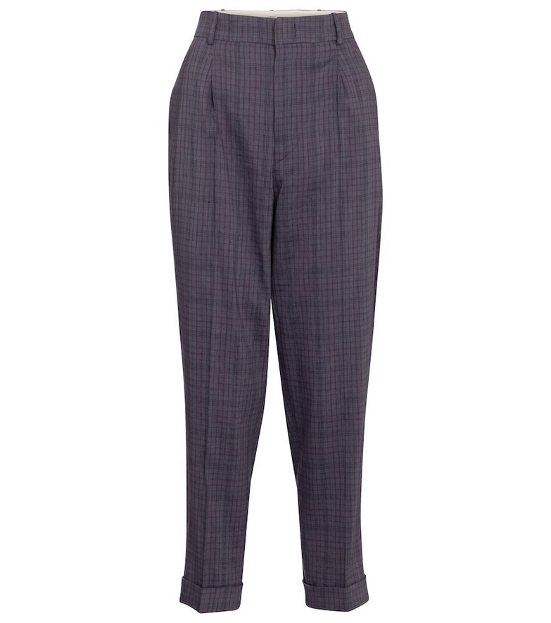 Isabel Marant, Étoile Lowea checked tapered pants in purple