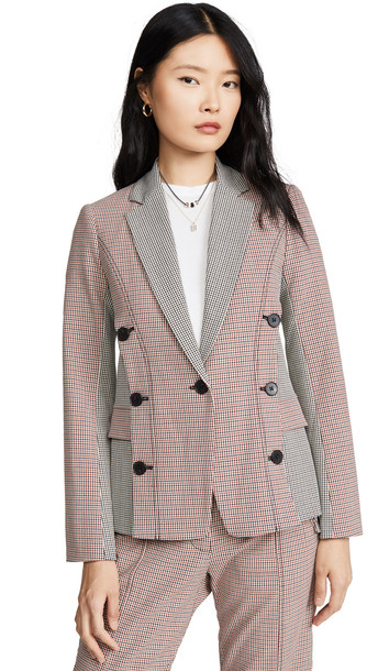 Derek Lam 10 Crosby Double Breasted Mixed Check Blazer in orange / multi