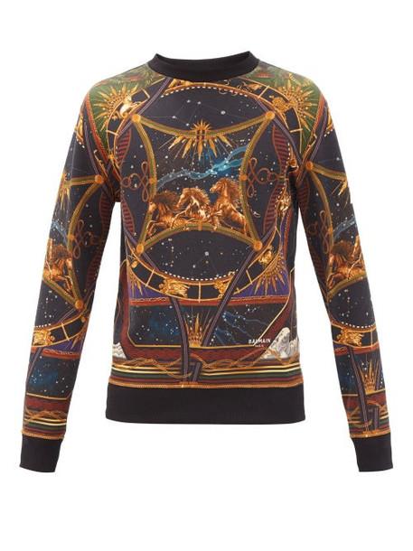 Balmain - Horse And Zodiac-print Cotton-jersey Sweatshirt - Mens - Black