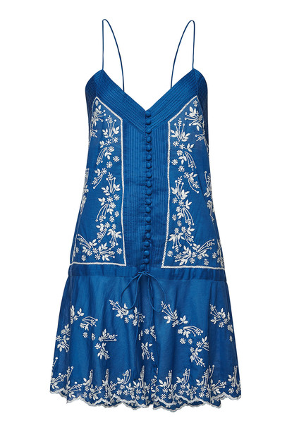 Juliet Dunn Cotton Slip Dress with Lotus Embroidery  in blue