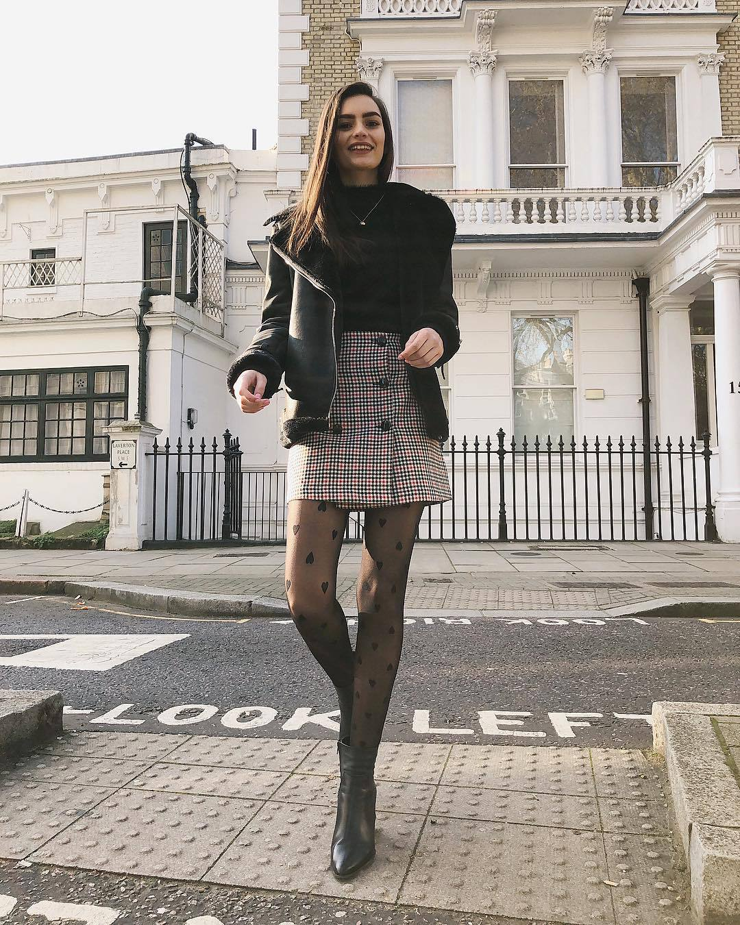 skirt plaid skirt mini skirt black boots ankle boots aviator jacket black jacket black turtleneck top