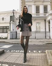 skirt,plaid skirt,mini skirt,black boots,ankle boots,aviator jacket,black jacket,black turtleneck top,high waisted skirt,tights,black leather jacket,black sweater,shoes,shearling jacket