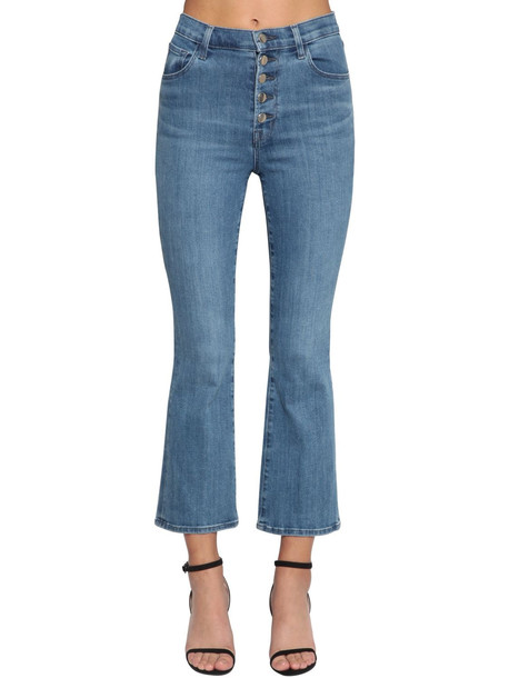 J BRAND Lillie Flared Cotton Denim Jeans in blue