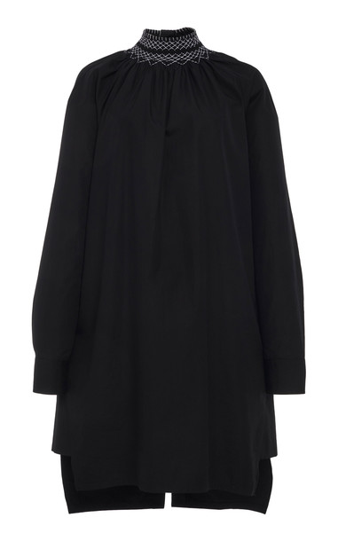 Prada Smocked Cotton High Neck Tunic in black