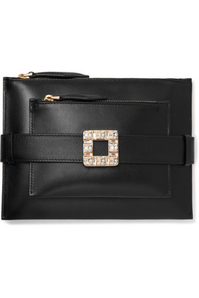 Roger Vivier - Convertible Crystal-embellished Leather Clutch - Black