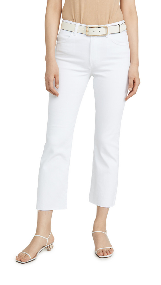 CQY Wes High Rise Bootcut Crop Jeans in white