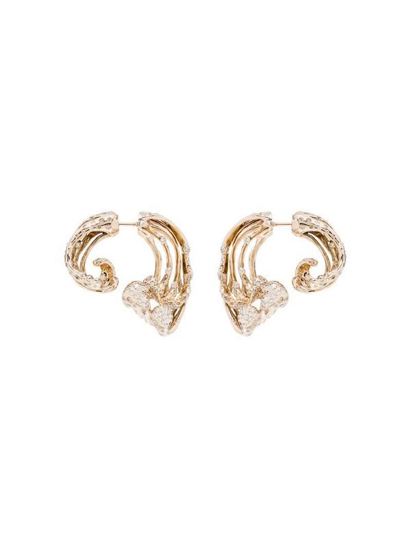 Bibi van der Velden 18kt yellow gold wave diamond earrings