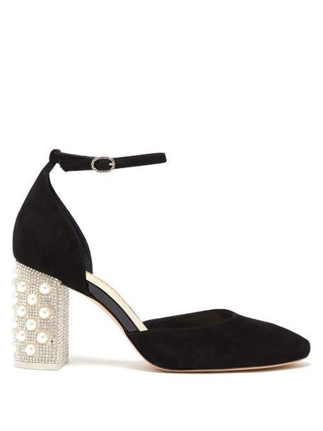 Sophia Webster - Toni Embellished Heel Suede Pumps - Womens - Black