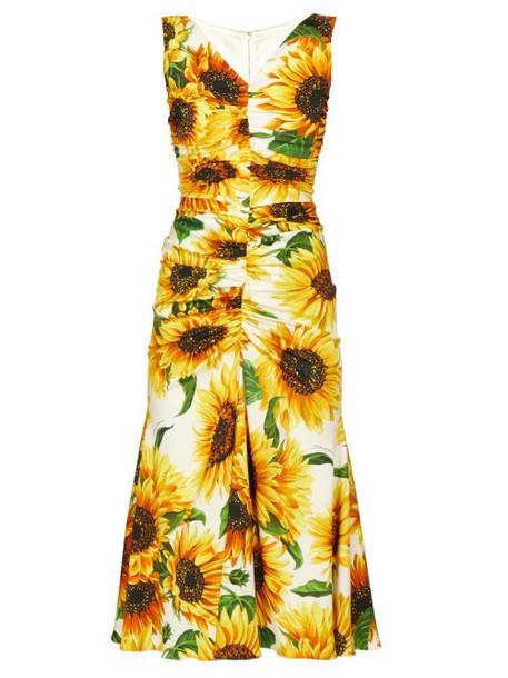 Dolce & Gabbana - Sunflower Print Gathered Midi Dress - Womens - Yellow Multi