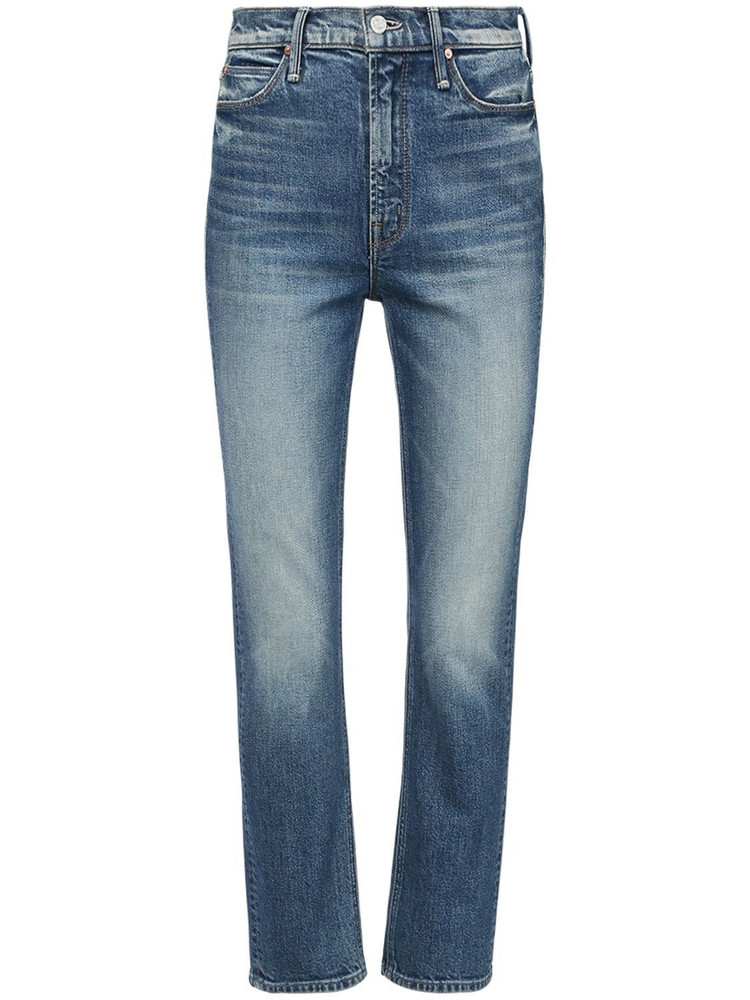 MOTHER The Dazzler Cotton Denim Straight Jeans in blue