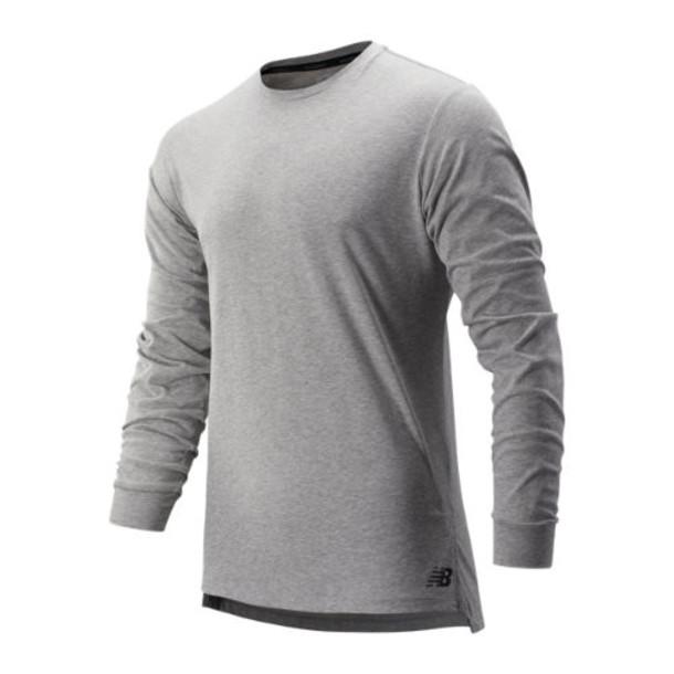New Balance 91048 Men's R.W.T. Long Sleeve Heathertech Tee - Grey (MT91048AG)