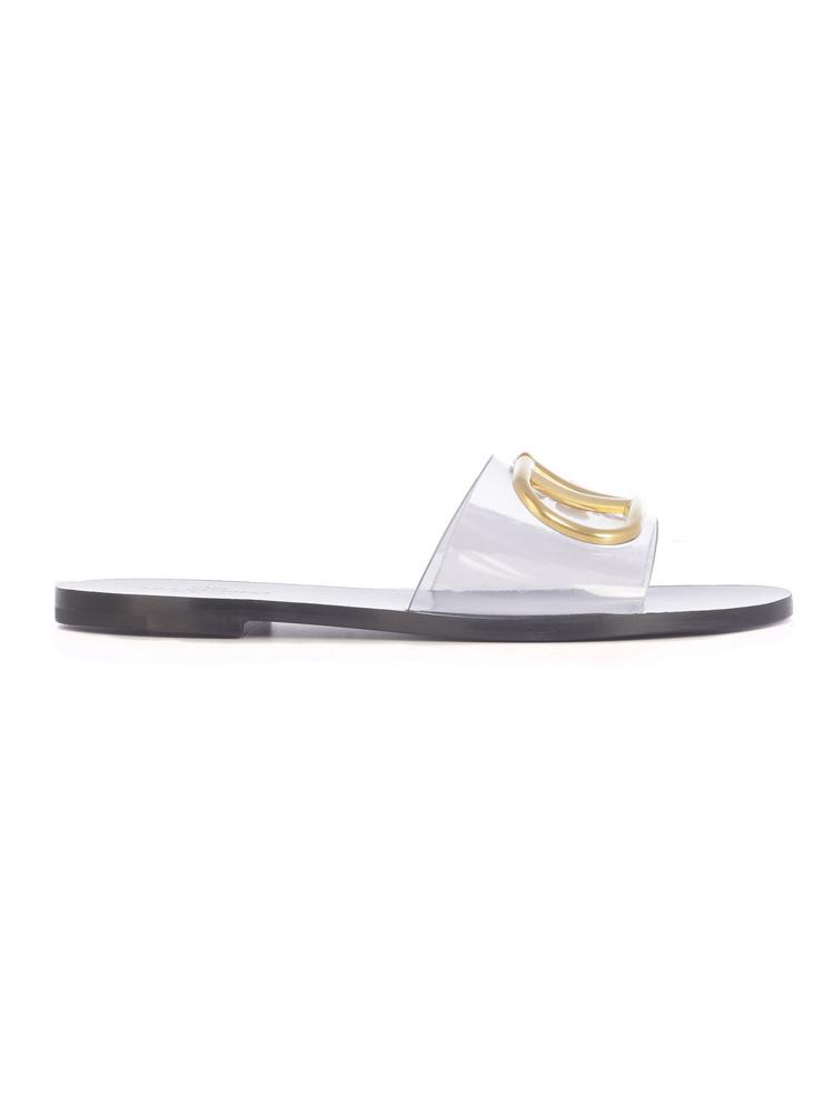 Valentino Brass Logo - Plexi Slippers/logo Plexi Ciabatta in black